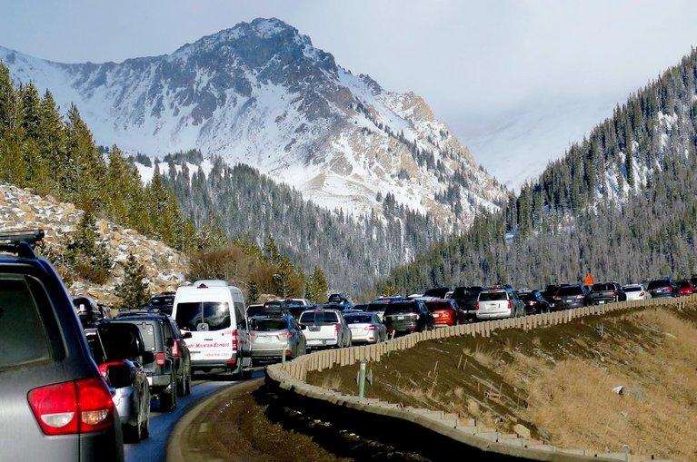 traffic near I-70 heading towards Silverthorne, Colorado
