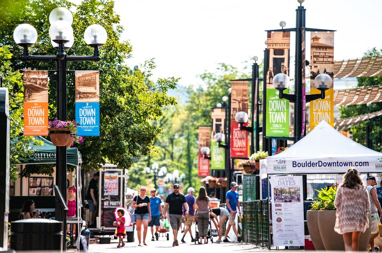 people walking on Pearl Street Mall in Boulder