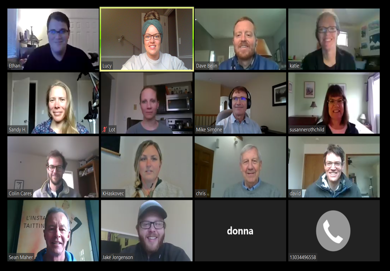 many faces during a Zoom conference call meeting