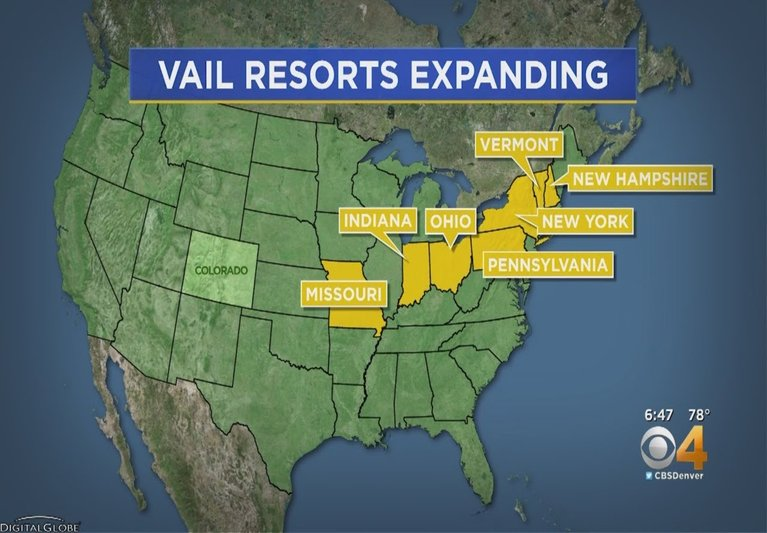 Map of US showing new Vail Resorts aquisitions