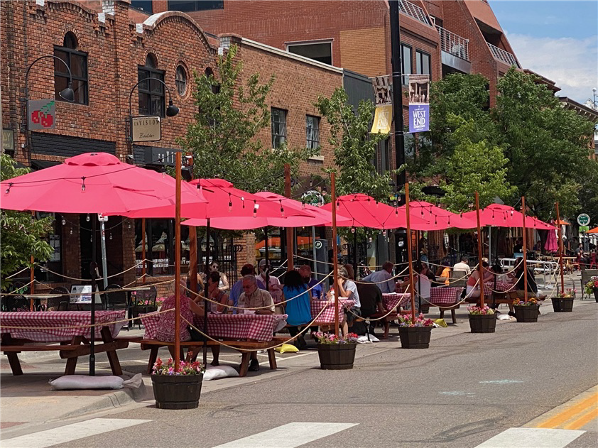 People dining outdoors
