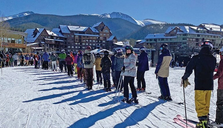 People in the lift line at Winter Park